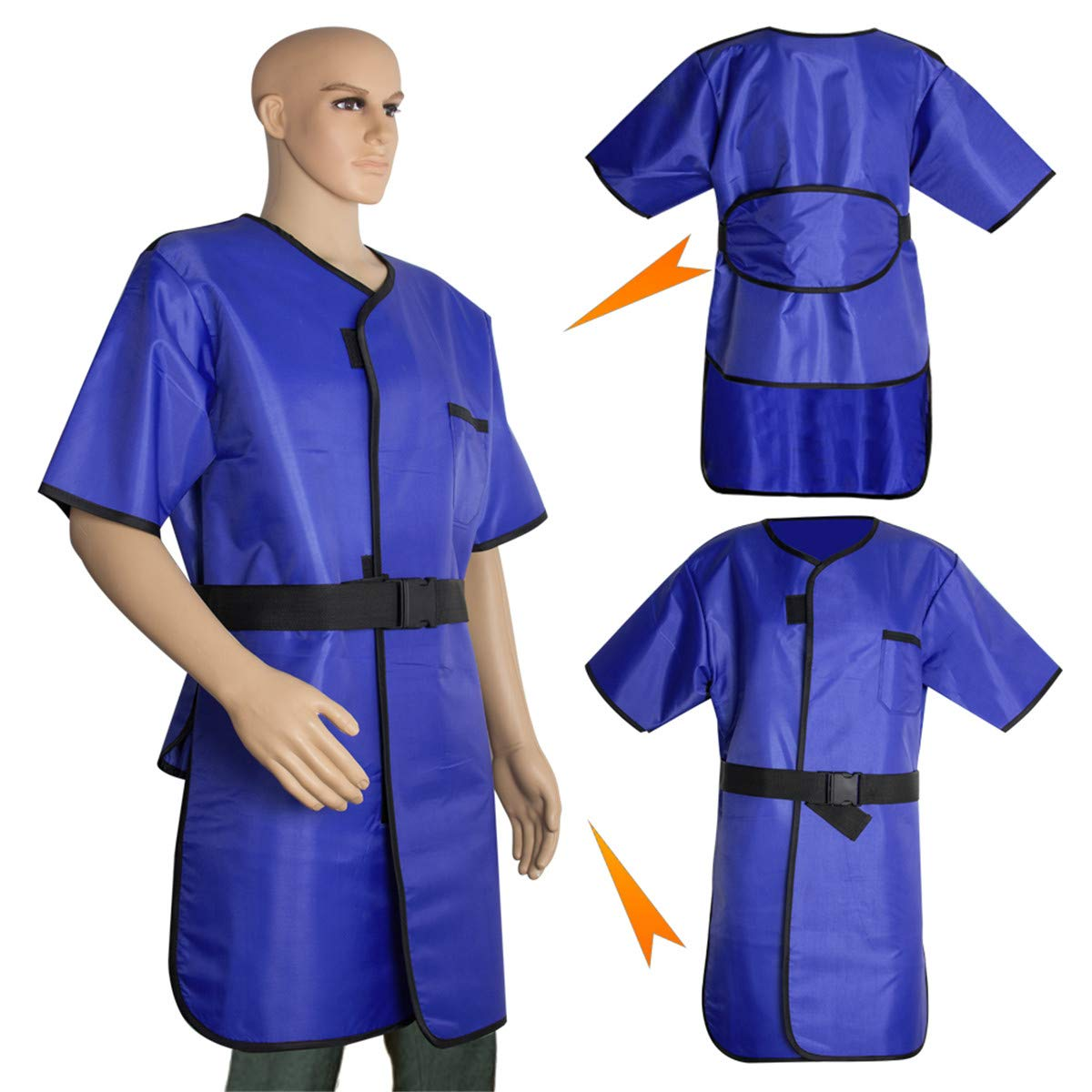 X-Ray Protection Apron,Fencia Flexible X-Ray Protective Cloth Lead Radiation Protection Apron Gel Coat 0.35mmpb Blue by Fencia (Image #3)