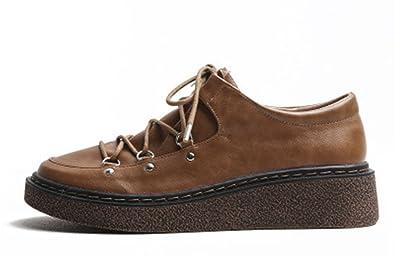 Cuir Ville Mode Chaussures de Lacets JRenok Sneakers Femme Baskets wFBU0Aq