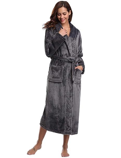 Men's Clothing Sleepwear & Robes Womens Mens Fleece Soft Long Fleece Bath Robe House Coat Bathrobe Dressing Gown