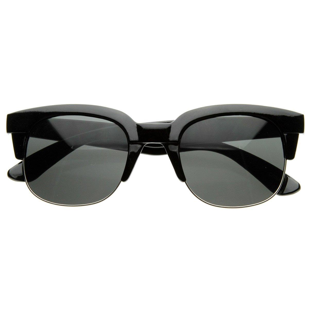 Super Square Modern Fashion Half Frame Retro Horn Rimmed Sunglasses Shiny Black