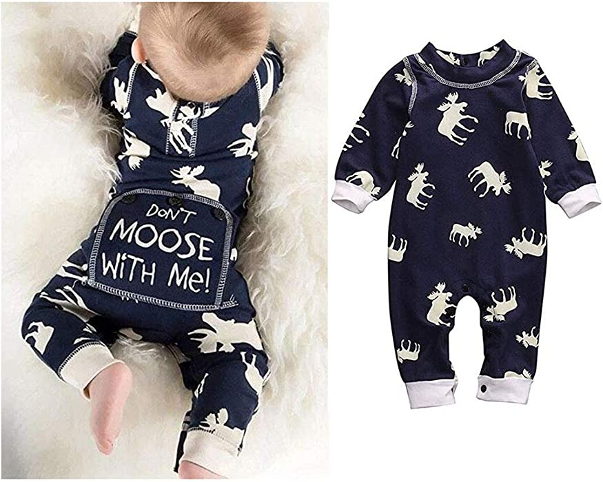f413221f1f00 Newborn Baby Girls Boys Don t Moose with Me Letter Print Romper Jumpsuits  One-Piece Outfits