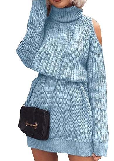 08521fd057 Vinyst Womens Batwing Sleeve Cowl Neck Cold Shoulder Sweater Dress Blue XL