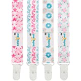 Babygoal Baby Pacifier Clip, 4 Pack Plastic Teething Clips fits All Pacifier Styles for Girls and Boys 4PS08-B