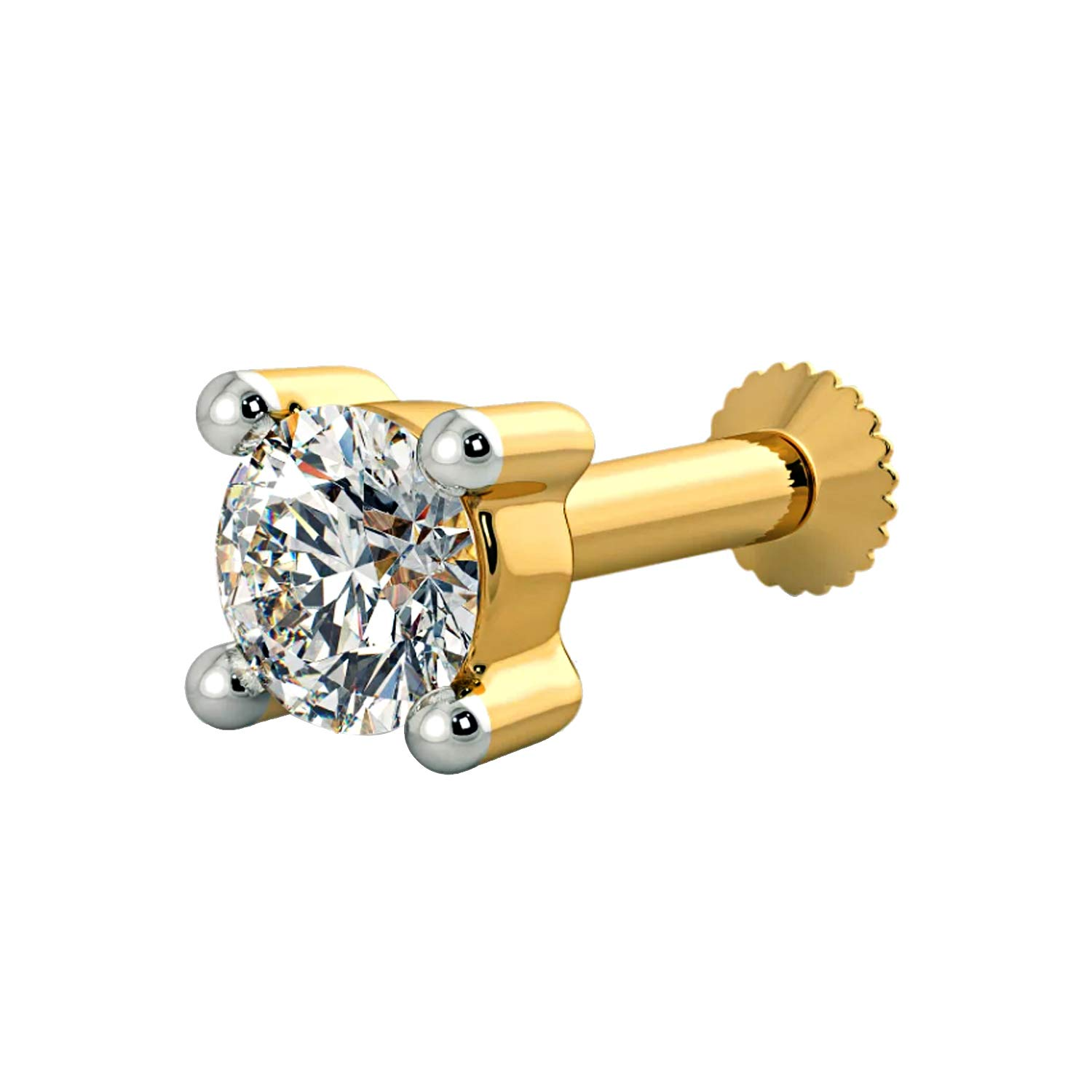 House of Kanak LLC 0.20 Ct 3.8 mm Real Diamond 4 Prong Solid 14K Yellow Gold Screw Stud Nose Ring