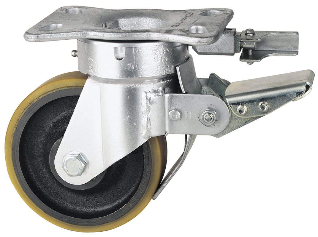 Revvo Caster H Series Plate Caster, Swivel with Brake & Lock, Polyurethane Wheel, Roller Bearing, 2400 lbs Capacity, 8 Wheel Dia, 1-1/2 Wheel Width, 6-3/4 Mount Height, 6-9/16 Plate Length, 5-1/4 Plate Width by Revvo Caster B006P6A58U
