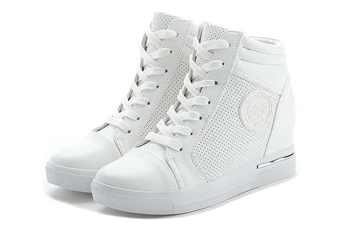 ohne Markenname Damen Sneaker-Wedges Sneakers Keilabsatz Klettverschluss High-Top Sportschuhe Stiefeletten TlJLQn7