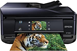 Epson Expression Premium Photo XP-800 Small-in-One Wireless Color Inkjet Printer, Copier, Fax, and Scanner with auto 2 sided scanning, copying, and printing. Prints from Tablet/Smartphone.AirPrint Compatible (C11CC45201)