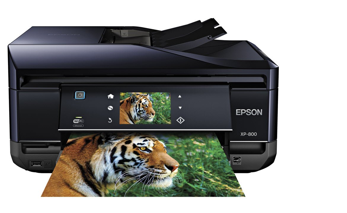 Epson Expression Premium Photo XP-800 Small-in-One Wireless Color Inkjet Printer, Copier, Fax, and Scanner with auto 2 sided scanning, copying, and printing. Prints from Tablet/Smartphone.  AirPrint Compatible (C11CC45201) by Epson (Image #1)