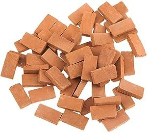 Hiawbon 300 Pcs Mini Red Wall Bricks Model Brick Building Set Dollhouse Miniature Bricks Diorama Landscaping Accessories DIY Dollhouse Bricks Diorama Fairy Garden,1/16 Scale