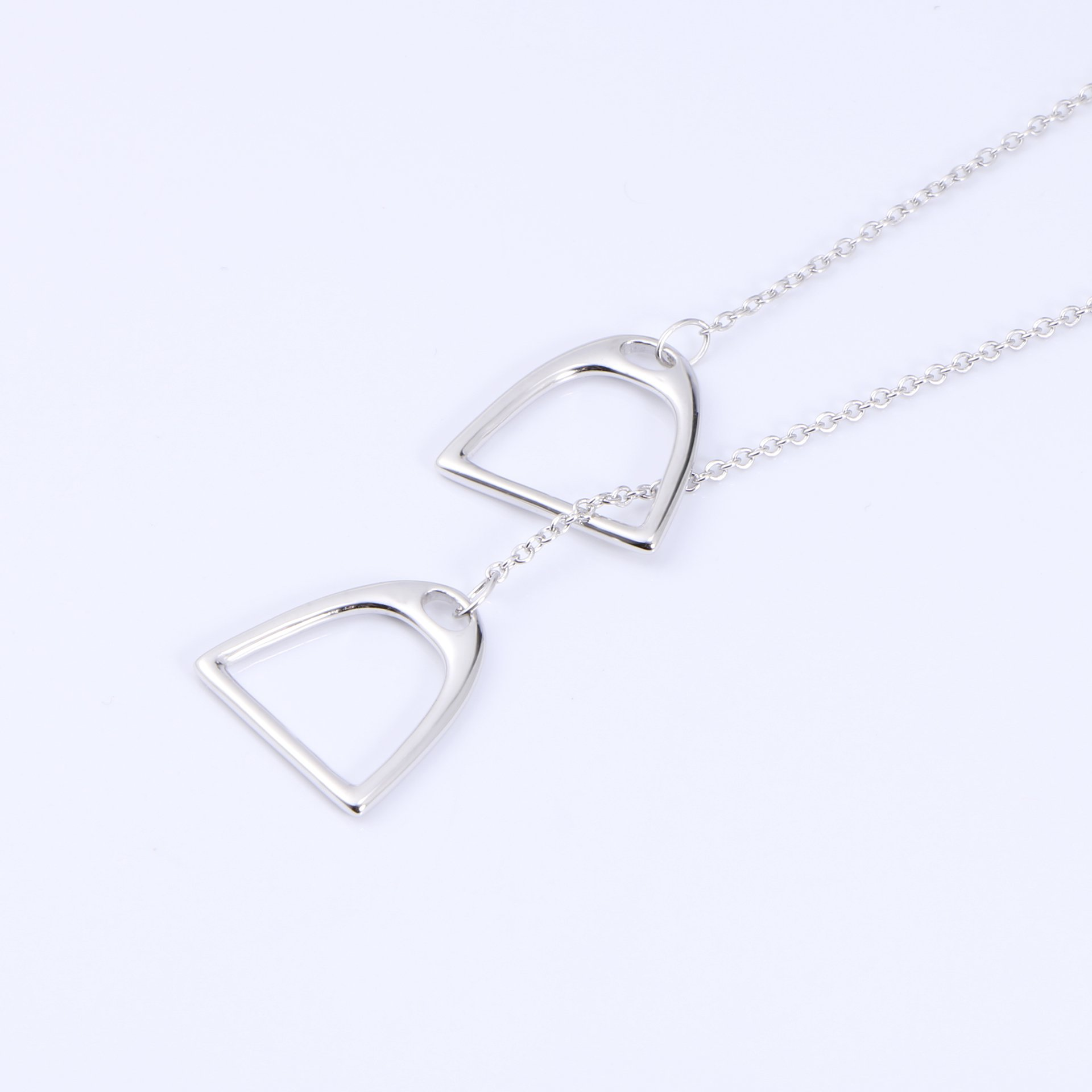 YFN Jewelry 925 Sterling Silver Simple Double Horse Stirrup Lariat Necklace Gift for Women Girls by YFN (Image #5)