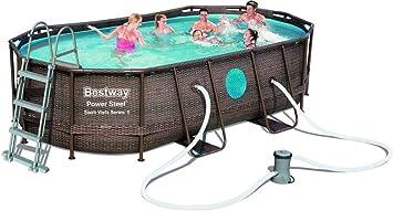 1 piscina ovalada con lona para cobertura y base escalera + bomba 427 x 250 x 100: Amazon.es: Bricolaje y herramientas