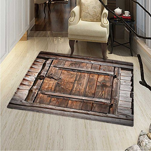 Vintage Area Rug Carpet Rustic Wooden Door Old Barn in Farmhouse Countryside Village Aged Rural Life Image Living Dinning Room Bedroom Rugs 3'x4' Brown