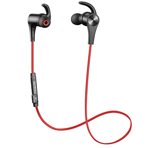 Bluetooth Earphones, SoundPEATS Bluetooth 4.1 Headphones Stereo Magnetic Earbuds, Secure Fit for Sport, Gym with Built-in Mic (Second Generation Version Red)