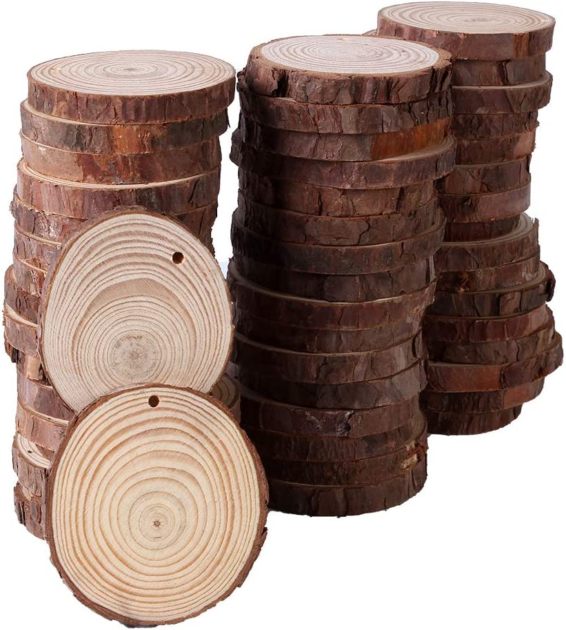 50 Pcs 2.8-3.2 inch Wood Slices for Centerpieces - 33 Feet Natural Jute Twine for Hole to Hang, Rustic Decor Wooden Rounds, Log Discs for Charger Circles, Wood Plates, Wood Cake Stand