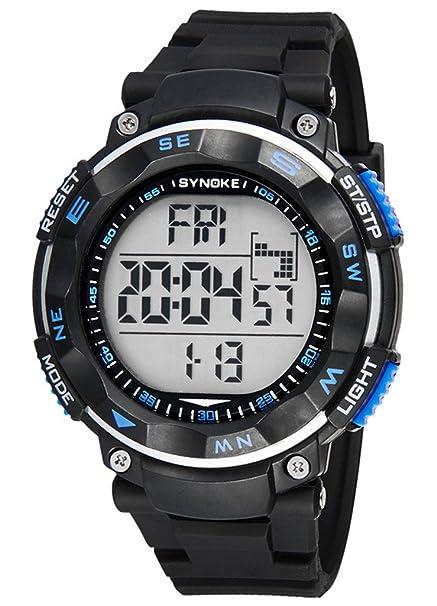 Sport Reloj de Pulsera para Hombres Redondo Reloj Digital con Calendario Alarma Cronómetro y luz Funciones