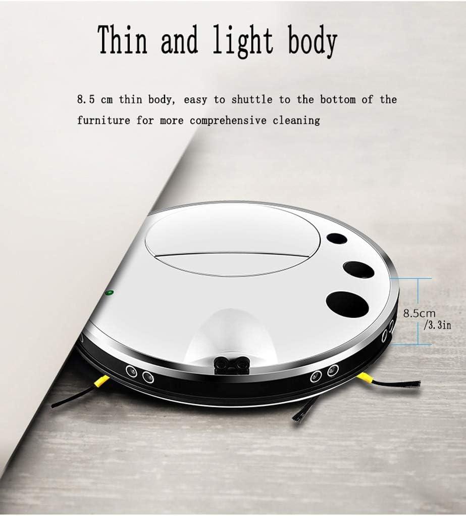 Smart Robot Aspirateur Télécommande Infrarouge et Design Mince, Anti-Collision, Anti-Chute Efficace sur les Tapis, Moquettes et Sols Durs avec Télécommande, (Color : White) White