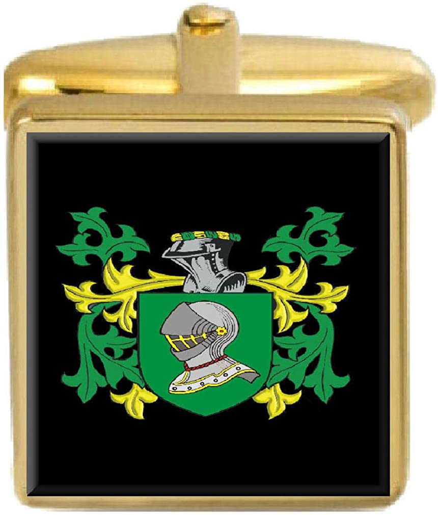 Select Gifts Faith England Family Crest Surname Coat Of Arms Gold Cufflinks Engraved Box