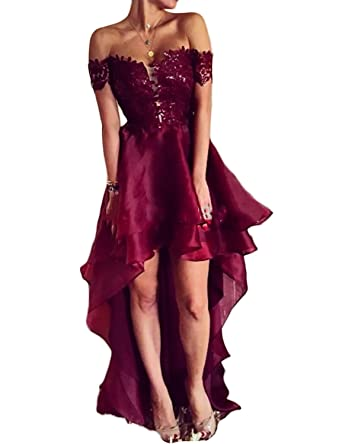 fdef423db0 Sexy Off Shoulder Prom Dresses High Low Empire Waist Lace Appliqued Evening  Dresses for Women Cocktail