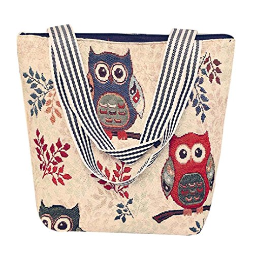 Handbag Cartoon Bag Beige Bags Tote A Canvas Beige Sansee Women's Ladies Owl Satchel Shoulder Messenger D SE4BIq