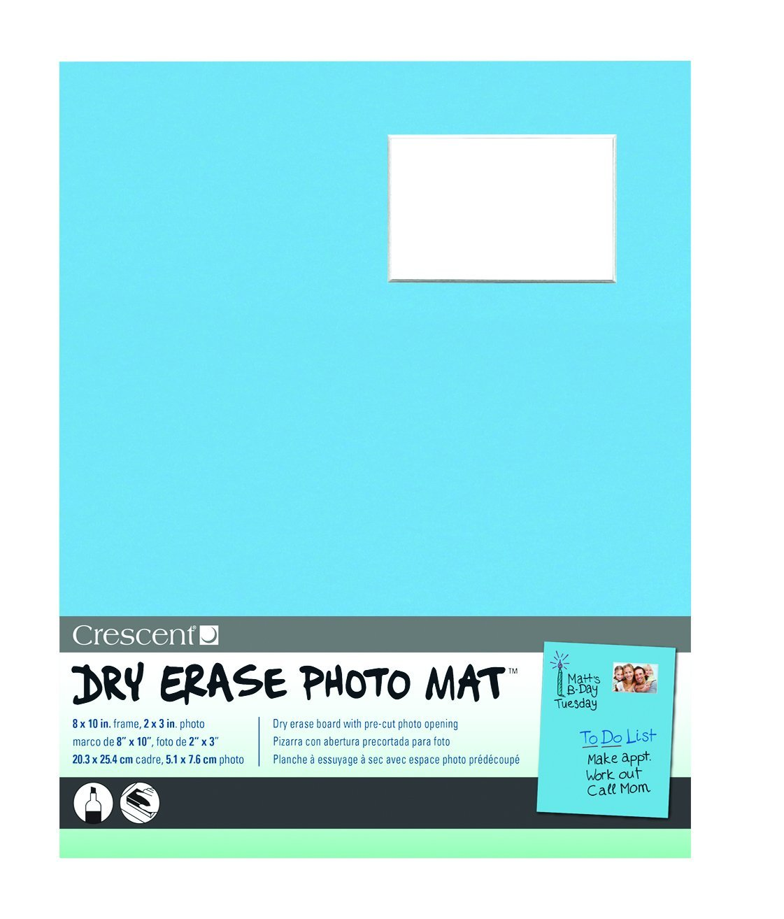 Crescent Cardboard Co Dry Erase 8-Inch x 10-Inch Photo Mat Holds 2 ...