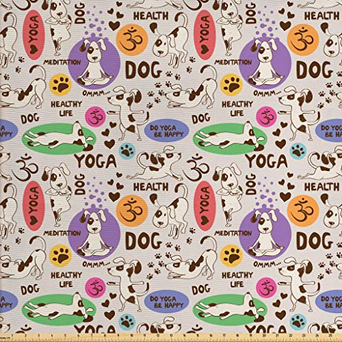 Lunarable Dog Lover Fabric by The Yard, Funny Pattern with Cartoon Dog Doing Yoga Position Bending Stretching Fit Healthy, Decorative Fabric for Upholstery and Home Accents, 1 Yard, -