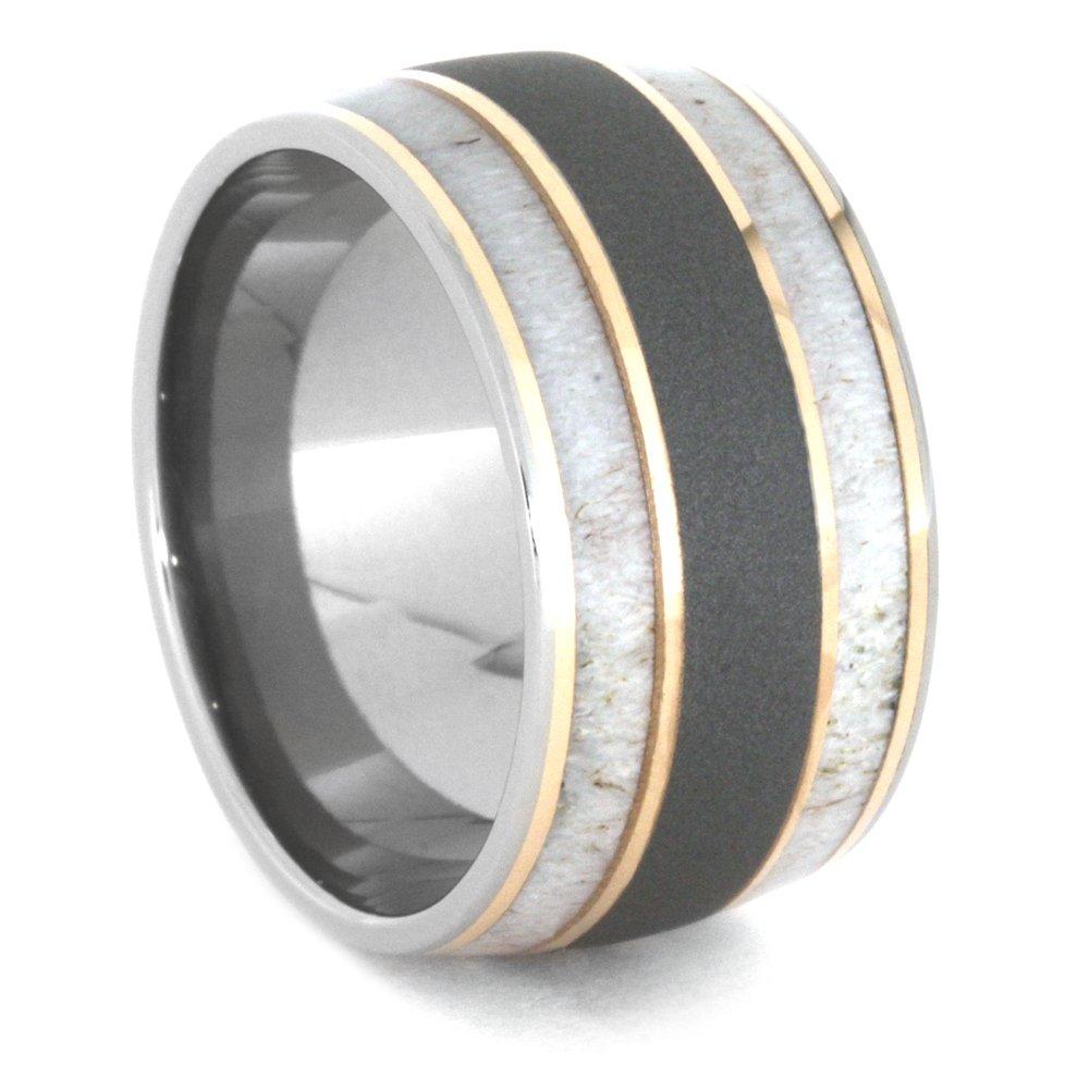 Deer Antler, 14k Rose Gold 9mm Comfort-Fit Sandblasted Titanium Wedding Band, Size 9.5