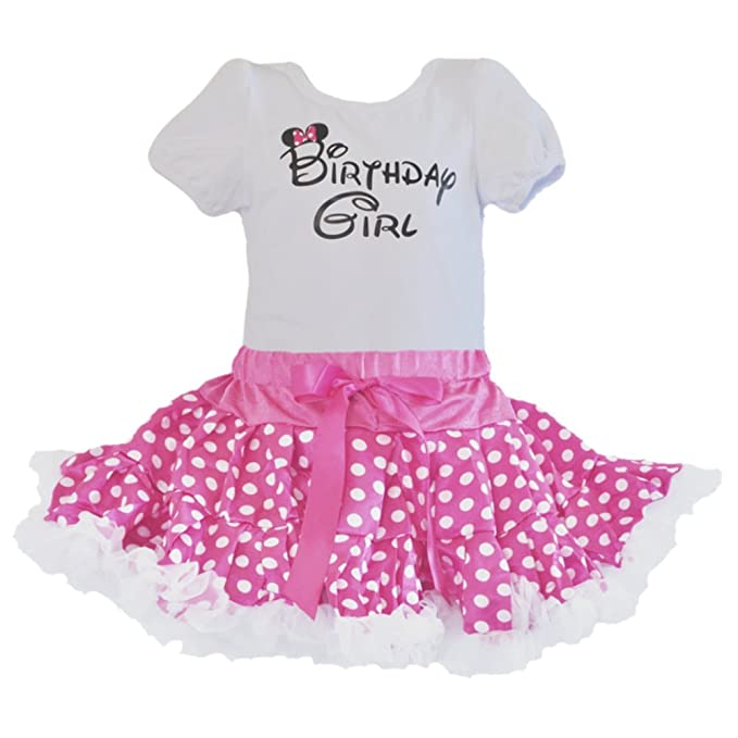 GoForDance Birthday Girl T-Shirt and Pink-White Polka Dot Tutu 2 Pcs Set