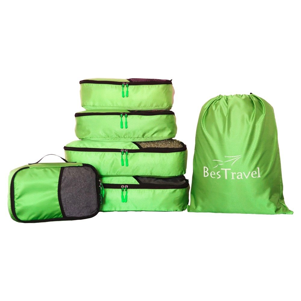 BesTravel - 5 Set Packing Cubes - Travel Organizers with Laundry Bag (green) by BesTravel (Image #1)