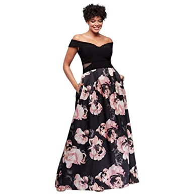 dcac7d28b4 Off-The-Shoulder Floral Plus Size Ball Gown Style 1173XW at Amazon ...