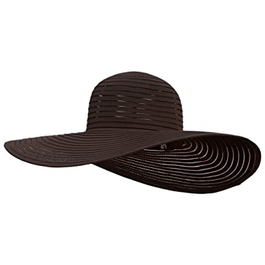 0d78851a082643 Ladies Fashion Wide Brim Hat - Brown OSFM at Amazon Women's Clothing ...