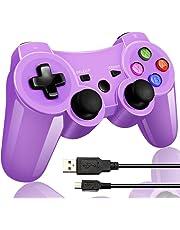 Wireless Bluetooth Game Romote Controller mit Double Shock Bonus kostenloses Ladekabel für ps3 Playstation 3 Controller(Lila)