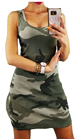 28c923810b GAGA Womens Fashion Summer Sleeveless Camo Evening Party Cocktail Beach  Short Mini Dress at Amazon Women's Clothing store: