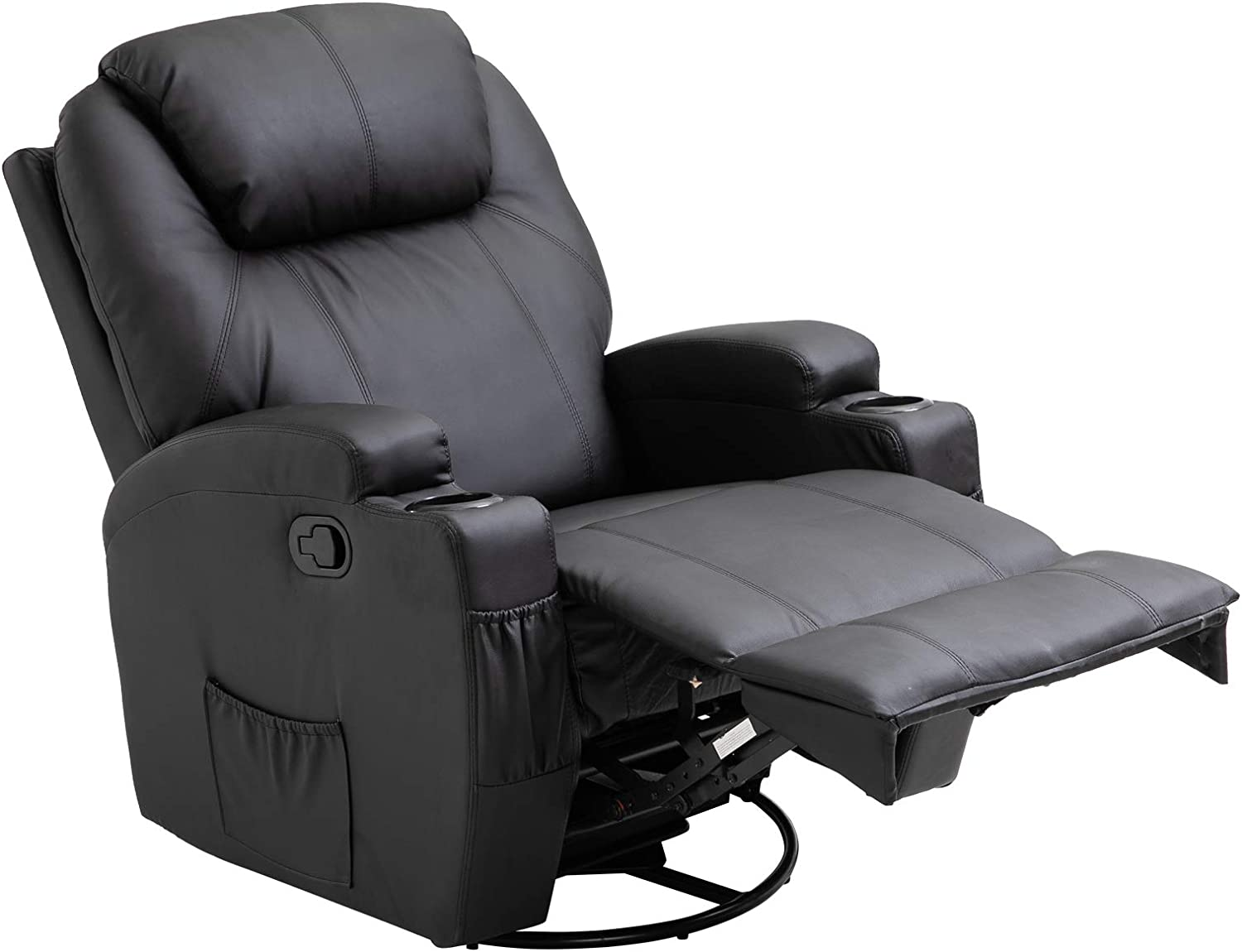HOMCOM Luxury Electronic Massage Sofa Leather Adjustable Recliner Chair Armchair Lounge (Black)
