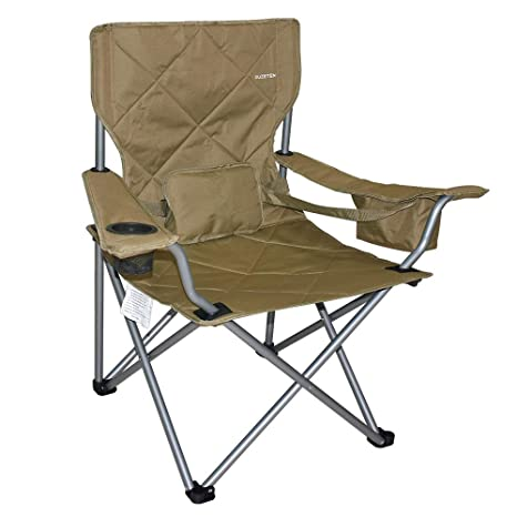 Remarkable Suzeten Oversized Folding Camping Chairs Quad Arm Chair With Heavy Duty Lumbar Back Support Cooler Cup Holder Back Mesh Pocket Shoulder Strap Andrewgaddart Wooden Chair Designs For Living Room Andrewgaddartcom