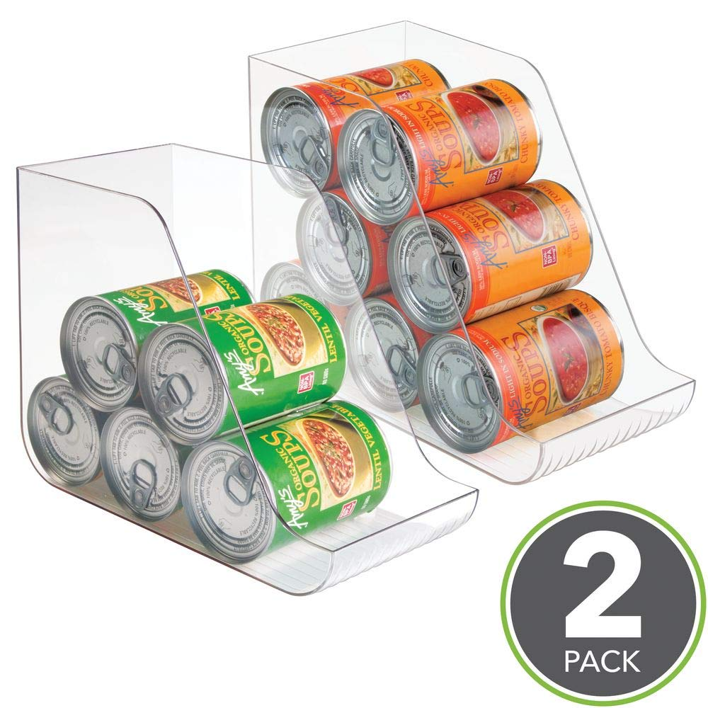 mDesign Can Organisers for Pantries Pack of 2 Fridge Drawers /& Fridge Shelves Kitchen Accessories Kitchen Storage Solutions for up to 7 Cans of Soft Drink Food or Soups Clear
