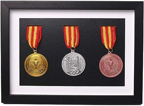J&X Caja de medallas de Madera Maciza, Vitrina de Madera para medallas e Insignias de Honor,