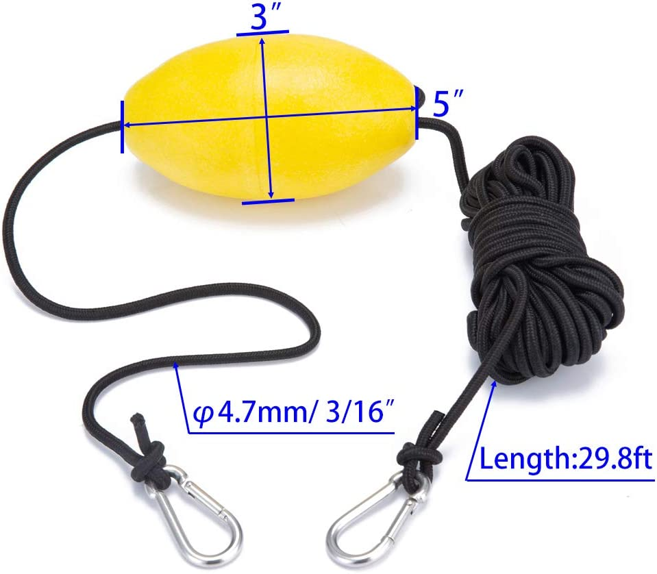 Marine Rope Tow Line Buoy Ball Float Leash Hook for Fishing Drift Anchors