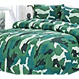 Clara Clark Colored Camouflage Goose Down Alternative Double Fill All Season Comforter, King, Teal Green