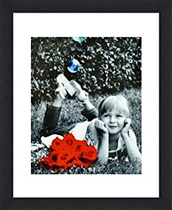 """11x14 Inch Picture Frame Black (1-pack) - HIGH DEFINITION GLASS FRONT COVER - Displays 11 by 14"""" Picture w/o Mat or an 8x10 Photo w/Mat - Vertical or Horizontal Mounts & Comes Ready To Hang"""