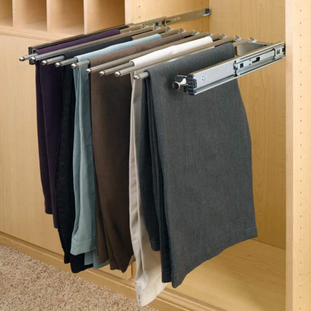 Rev-A-Shelf RPSC-2414CR Pull-Out Pants Rack with slides - 13 lbs. by Rev-A-Shelf