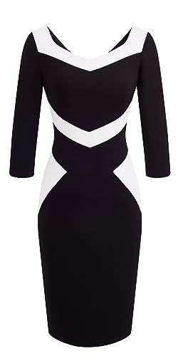 Braccialetti donna 3/4 maniche lunghezza ginocchio blocco colore casual Business Bodycon abito B411 ...