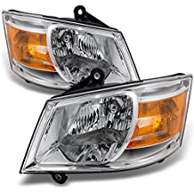 Dodge Grand Caravan Clear Headlights Head Lamps Driver Left + Passenger Right Side Replacement Pair