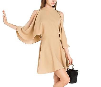 Robin Santiago Vestido Batwing Sleeve Mini Dress Casual Ruffle Split A-Line Dress Women Clothing