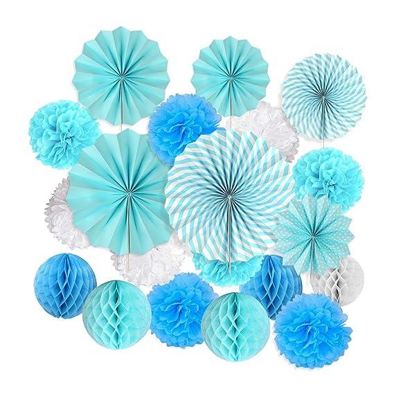 ... Bola de Nido + 6 Piezas Abanicos de Papel Plegables Flores Decoracion Cumpleaños/Boda/ Nacimiento/Navidad (Azul Zarco y Blancas): Amazon.es: Electrónica