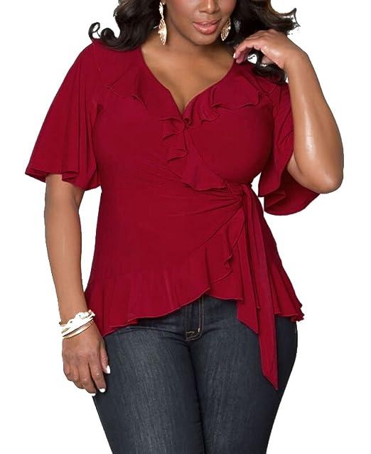 YOUJIA Suave Color sólido Blusas Camisas atada a la cintura Cuello en V Camisetas Tops Manga