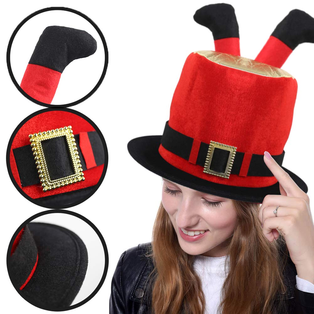 FuturePlusX Plush Fabric Christmas Cylinder Hat with Two Short Pants Legs for Xmas Day, Halloween and Funny Theme Party