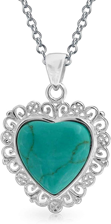 Bling Jewelry Vintage Style Estabilizado De Filigrana con Forma De Corazón Colgante Collar Turquesa para La Mujer Adolescente 925