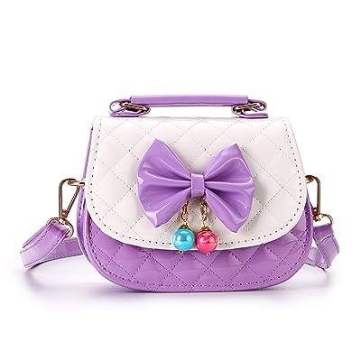 Hipiwe Little Girls Crossbody Purses for Kids - PU Leather Cute Crossbody Shoulder Bags Bowknot Children Handbag for Baby Girls (Purple+White): Clothing