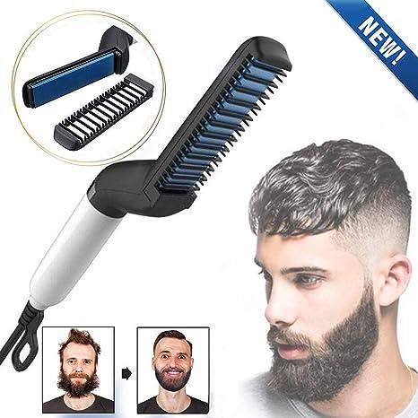 Beard Straightener Brush, Quick Beard Straightening Comb for Man, Electric Hair Straightening Comb Styling Comb Hair Straightener Heat Brush Magic