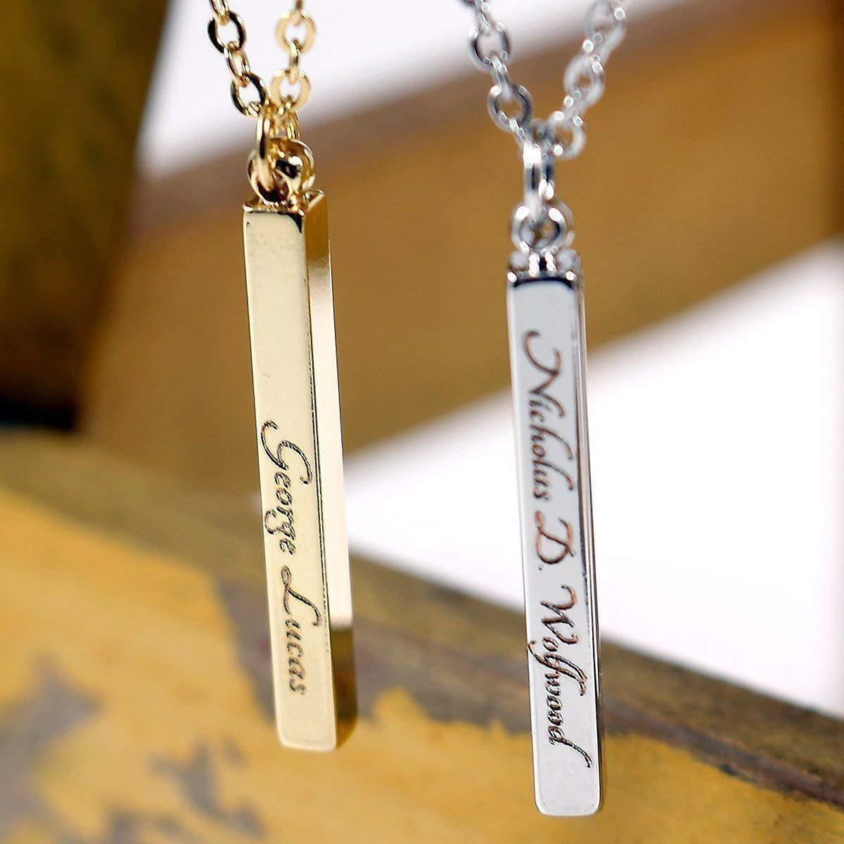 Men Bar Pendant Necklace chain 18 inch Personalized Custom Engraved Name or Words Free Engraving